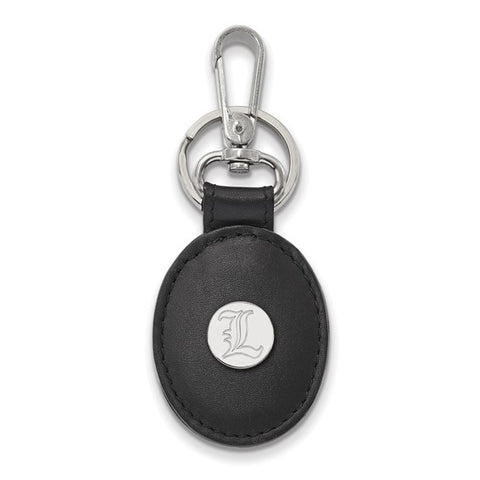 Louisville Cardinals Black Leather Oval Key Chain