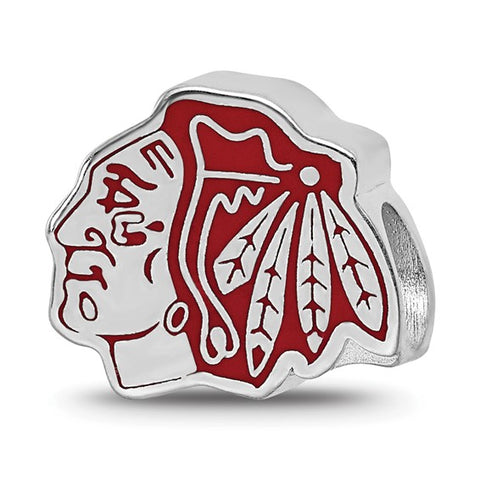 Chicago Blackhawks Blackhawk Head Enameled Logo Bead