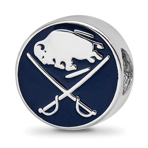 Buffalo Sabres Buffalo with Swords on Hockey Puck Enameled Logo Bead