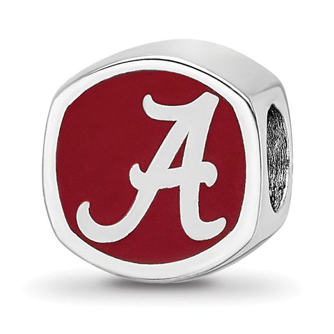 Alabama Crimson Tide Script Alabama A Cushion Shaped Double Logo Bead