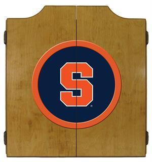 Syracuse Orange Dartboard Cabinet in Oak Finish