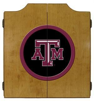 Texas A&M Aggies Dartboard&Cabinet in Oak Finish