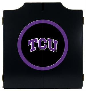 TCU Horned Frogs Dartboard Cabinet in Black Finish