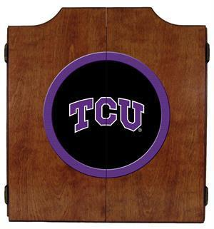 TCU Horned Frogs Dartboard Cabinet in Pecan Finish