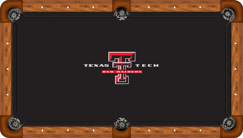 Texas Tech Pool Table Felt - Logo on Black