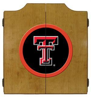 Texas Tech Red Raiders Dartboard Cabinet in Oak Finish