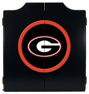 Georgia Bulldogs Dartboard Cabinet in Black Finish