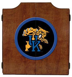 Kentucky Wildcats Dartboard Cabinet in Pecan Finish