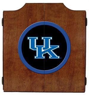 Kentucky Wildcats Logo Dartboard Cabinet in Pecan Finish
