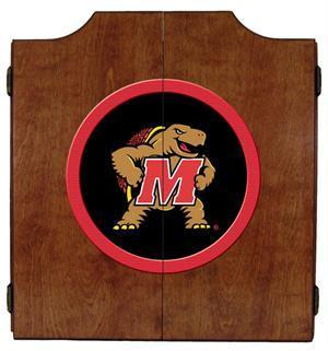 Maryland Terrapins Dartboard Cabinet in Pecan Finish