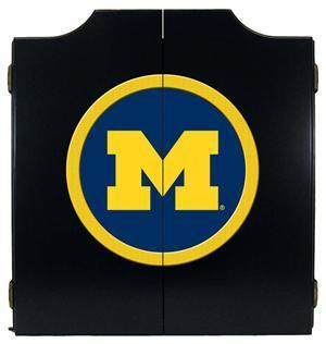 Michigan Wolverines Dartboard Cabinet in Black Finish