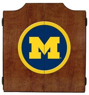 Michigan Wolverines Dartboard Cabinet in Pecan Finish