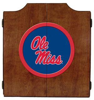 Ole Miss Rebels Dartboard Cabinet in Pecan Finish