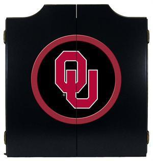 Oklahoma Sooners Dartboard Cabinet in Black Finish