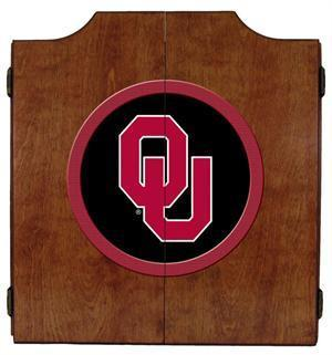 Oklahoma Sooners Dartboard Cabinet in Pecan Finish