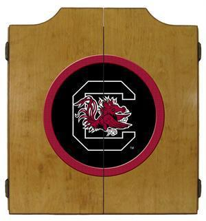 South Carolina Gamecocks Dartboard Cabinet in Oak Finish