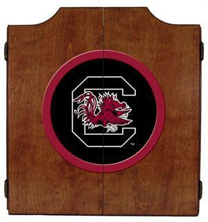 South Carolina Gamecocks Dartboard Cabinet in Pecan Finish