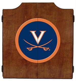 Virginia Cavaliers Dartboard Cabinet in Pecan Finish
