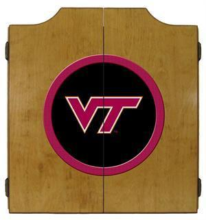 Virginia Tech Hokies Dartboard Cabinet in Oak Finish