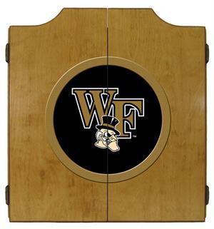Wake Forest Demon Deacons Dartboard Cabinet in Oak Finish