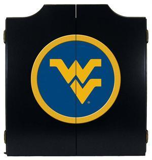 West Virginia Mountaineers Dartboard Cabinet in Black Finish