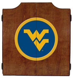 West Virginia Mountaineers Dartboard Cabinet in Pecan Finish