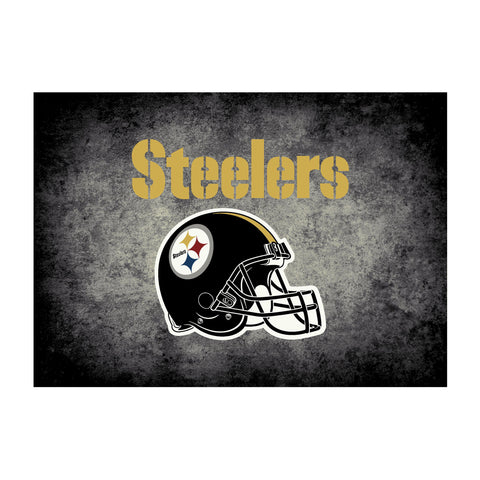 Pittsburgh Steelers 4X6 Distressed Rug