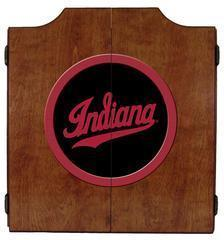 Indiana Hoosiers Dartboard Cabinet in Pecan Finish