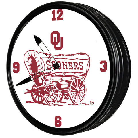 "Oklahoma Sooners 19"" LED Team Spirit Clock-Secondary Logo"