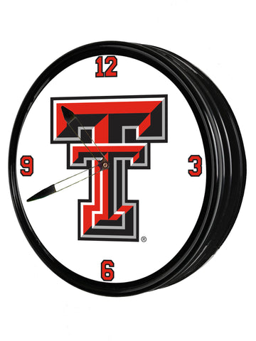 "Texas Tech Red Raiders 19"" LED Team Spirit Clock-Primary Logo"