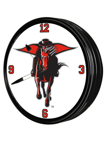 "Texas Tech Red Raiders 19"" LED Team Spirit Clock-Secondary Logo"