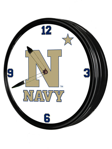 "Navy Midshipmen 19"" LED Team Spirit Clock-Primary Logo"