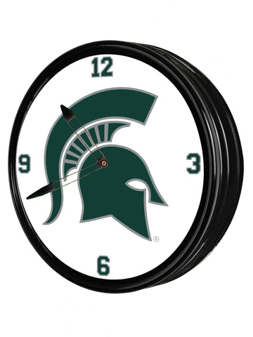 "Michigan State Spartans 19"" LED Team Spirit Clock-Primary Logo"