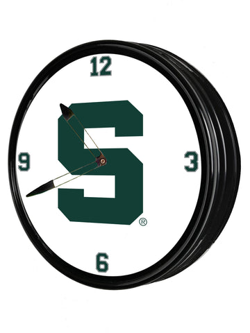 "Michigan State Spartans 19"" LED Team Spirit Clock-Block S"