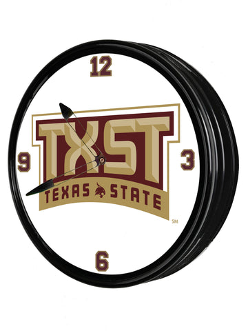 "Texas State Bobcats 19"" LED Team Spirit Clock-TXST"