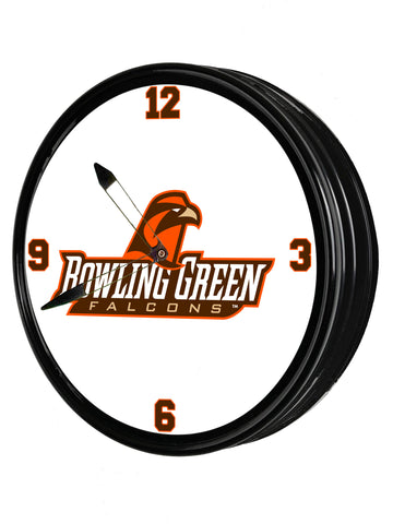 "Bowling Green Falcons 19"" LED team Spirit Clock-Secondary Logo"
