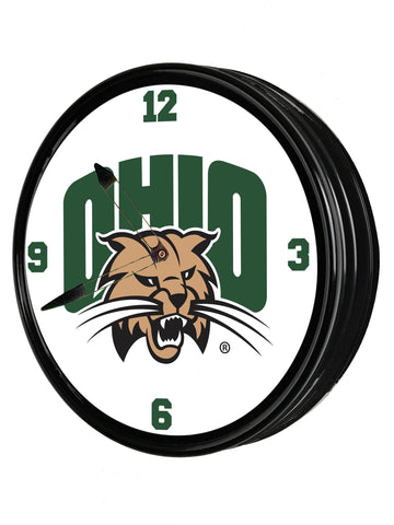 "Ohio Bobcats 19"" LED Team Spirit Clock-Primary Logo"