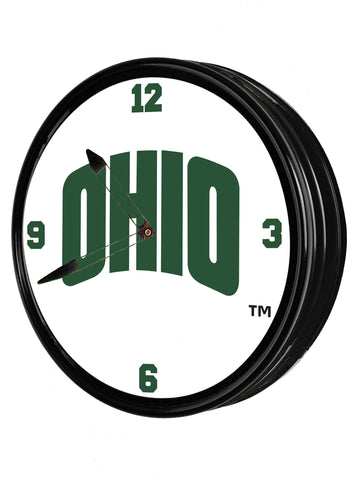 "Ohio Bobcats 19"" LED Team Spirit Clock-SecondaryLogo"