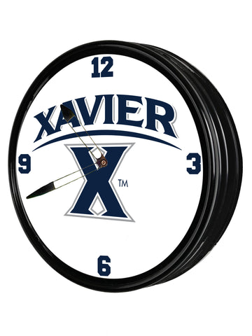 "Xavier Musketeers 19"" LED Team Spirit Clock-Primary Logo"