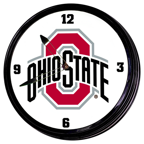 "Ohio State Buckeyes 19"" LED Team Spirit Clock-Primary Logo"