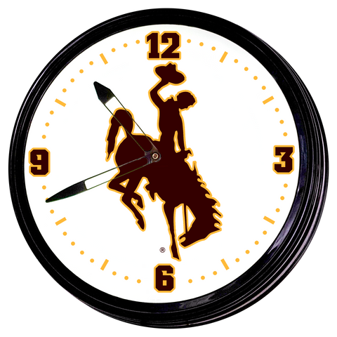 "Wyoming Cowboys 19"" LED Team Spirit Clock-Primary Logo"