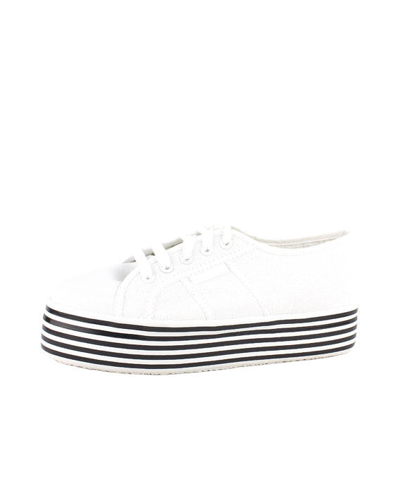 Superga White Multi Stripes Platform Sneaker