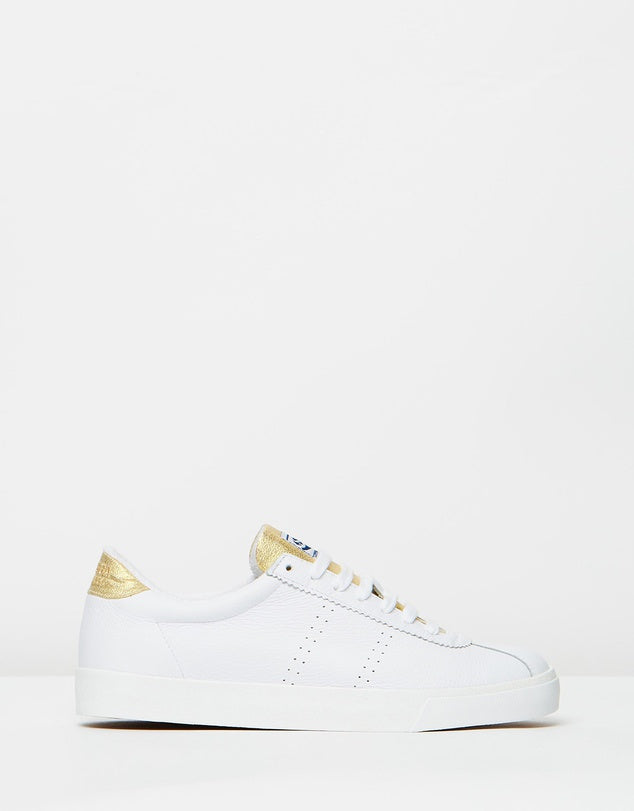 Superga White Gold Leather Sneaker