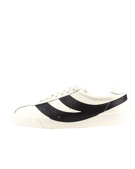 Superga 2843 White Cloud  Black Leather Sneaker
