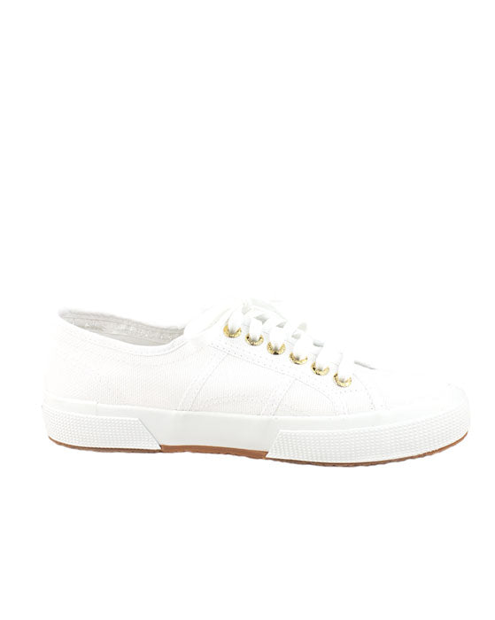 Superga White Gold Eyelet Sneaker