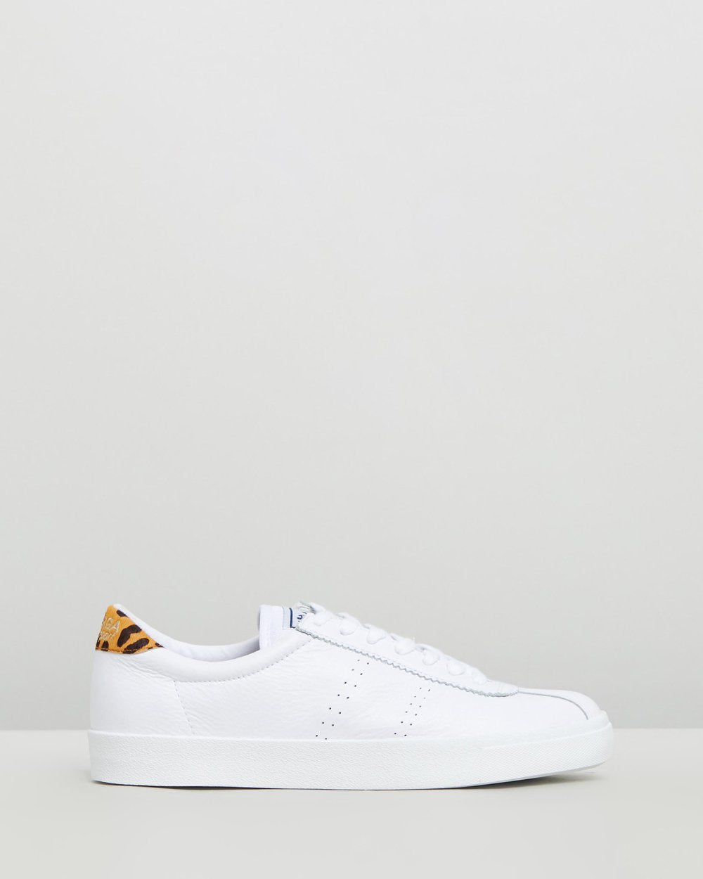 Superga White Leopard Leather Sneaker