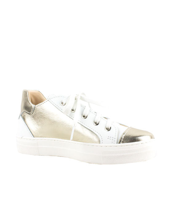 Lecologica Platino Gold White lace up Sneaker