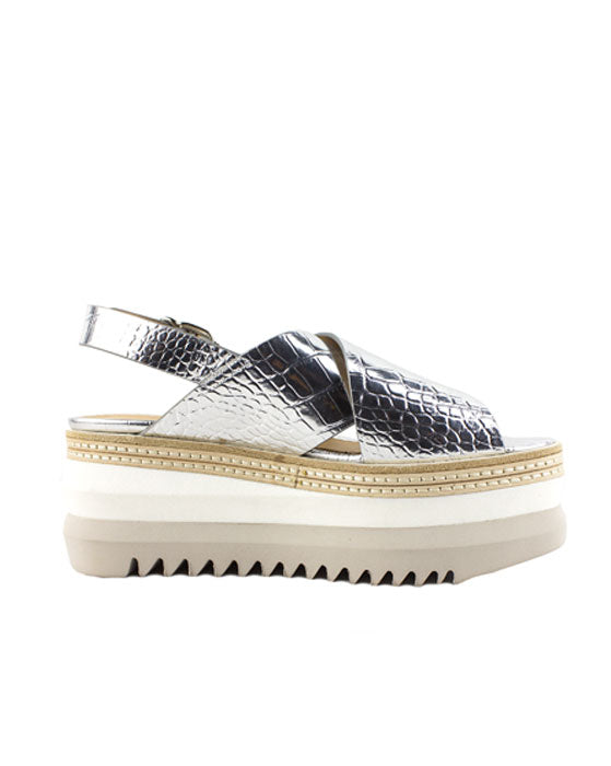Laura Bellariva Silver Croc Cross over Wedge Sandal