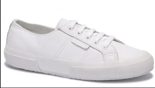 Superga White 2750 Tumbled Leather Sneaker