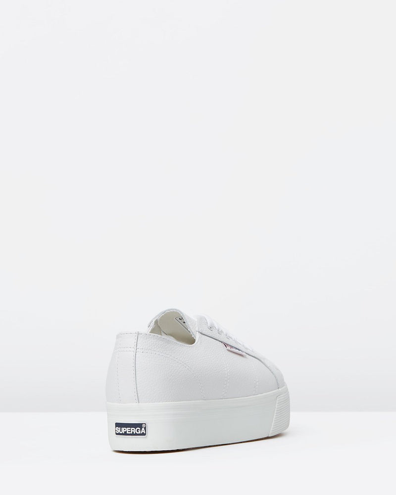 Superga Leather White Platform Sneaker